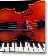 Violin On Piano Keys Metal Print by Garry Gay