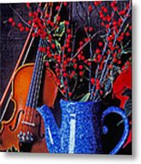 Violin With Blue Pot Metal Print by Garry Gay