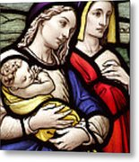 Virgin Mary And Baby Jesus Stained Glass Metal Print