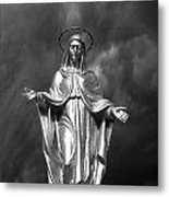 Virgin Mary And The Thunderstorm Bw Metal Print