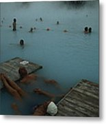 Visitors To Thermal Springs Of The Blue Metal Print