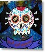 Viva Los Muertos Bat Metal Print