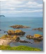 Volcanic Rock Formations In Ballintoy Bay Metal Print