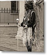 Voodoo Man In Jackson Square New Orleans- Sepia Metal Print