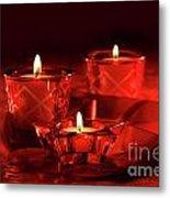 Votive Candles On Dark Red Background Metal Print
