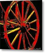 Wagon Wheel In Red Metal Print