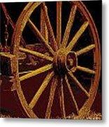 Wagon Wheel In Sepia Metal Print