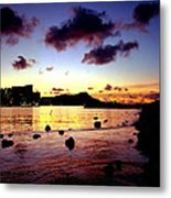 Waikiki Lagoon Dawn Metal Print