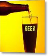 Waiter Pouring Dark Beer Metal Print by Anna Om
