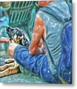 Waiting For The Parade Watercolor Metal Print