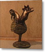 Wakeup Call Rooster Bronze Sculpture With Beak Feathers Tail Brass And Opaque Surface  Metal Print