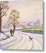 Walk In The Snow Metal Print by Lavinia Hamer