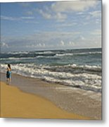 Walking In The Water At  Anahola Beach Metal Print