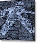 Walking Man In Cyan Metal Print