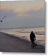 Walking On The Beach - Cape May Metal Print