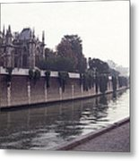Walking The Dog Along The Seine Metal Print