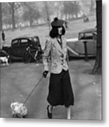 Walking The Dog Metal Print by H F Davis