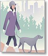 Walking The Dog In Seattle Metal Print