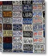Wall Of License Plates Metal Print