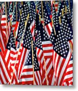 Wall Of Us Flags Metal Print