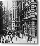Wall Street Looking Toward Old Trinity Church - New York City - C 1910 Metal Print