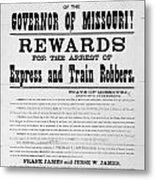 Wanted Poster, 1881 Metal Print