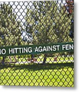 Warning Sign On Chain Fence Metal Print by Thom Gourley/Flatbread Images, LLC