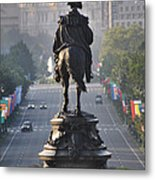 Washington Looking Down The Parkway - Philadelphia Metal Print by Bill Cannon