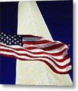 Washington Monument And American Flag Metal Print