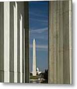 Washington Monument Framed By Lincoln Memorial Metal Print