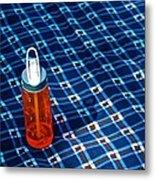 Water Bottle On A Blanket Metal Print