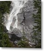 Water Cascading Down The Rock And Metal Print