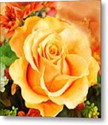 Water Color Yellow Rose With Orange Flower Accents Metal Print