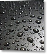 Water Drops On Black Metalica. Business Card. Invitation. Sympathy Note. Metal Print