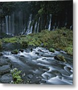 Water Falling And Flowing Over Rocks Metal Print