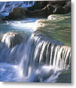 Water Flowes Over Travertine Formations Metal Print