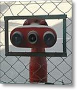 Water Hydrants Built Into A Wire Mesh Fence Metal Print