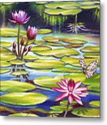 Water Lilies At Mckee Gardens II - Butterfly And Frog Metal Print by Nancy Tilles