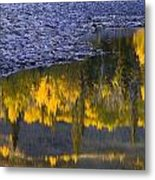 Water Reflections With A Rocky Shoreline Metal Print