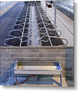 Water Trough And Cattle Cubicles Metal Print