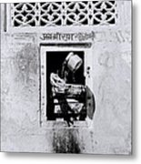 Water Vendor In Jaipur Metal Print
