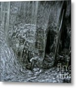 Water Wall And Whirling Bubbles Metal Print