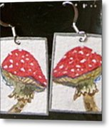 Watercolor Earrings Amanita Metal Print