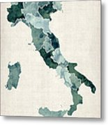 Watercolor Map Of Italy Metal Print