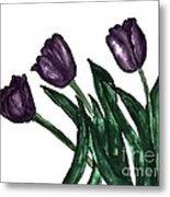 Watercolor Purple Tulips Metal Print