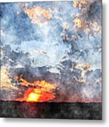 Watercolor Sunrise Metal Print