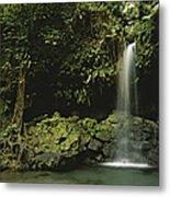 Waterfall And Emerald Pool In A Lush Metal Print