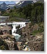 Waterfall At Many Glacier Metal Print