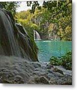 Waterfall At Plitvice National Park In Metal Print