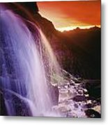 Waterfall At Sunset, Bugaboo Glacier Metal Print